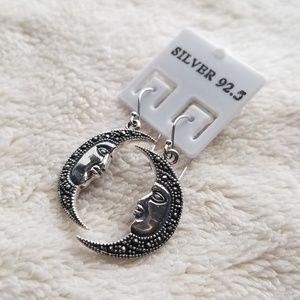 Jewelry - Silver 92.5% Marcasite Moon face Drop Earrings